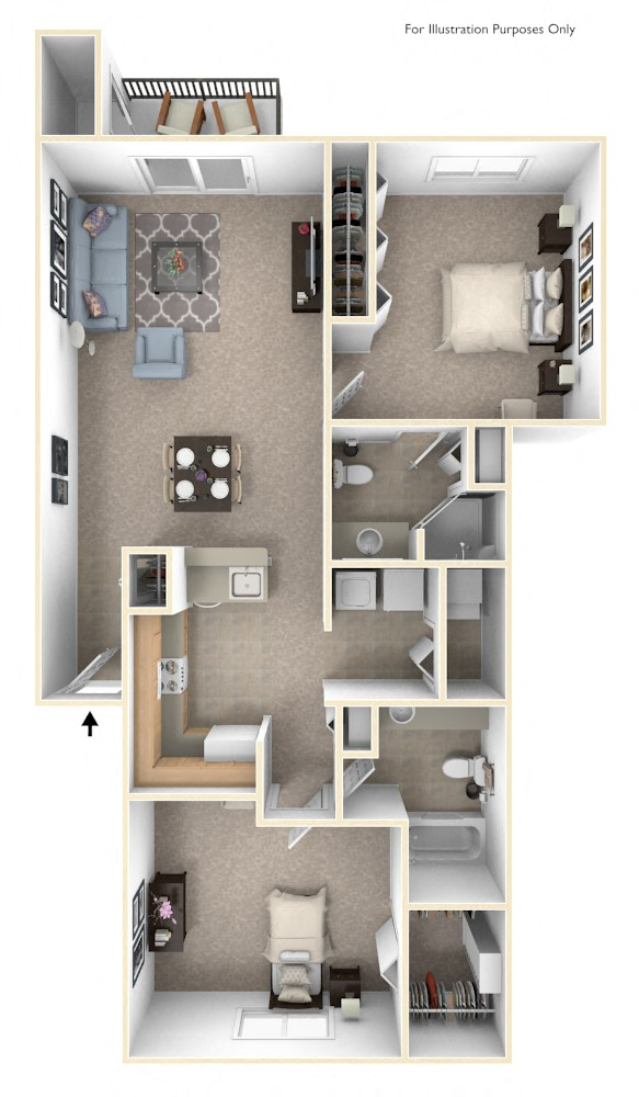Traditional Two Bedroom Floor Plan Top View