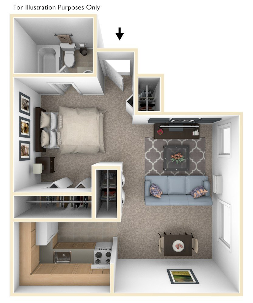 Studio floor plan, top view