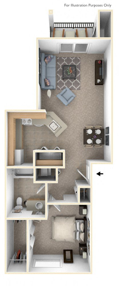 Traditional One Bedroom floor plan, top view