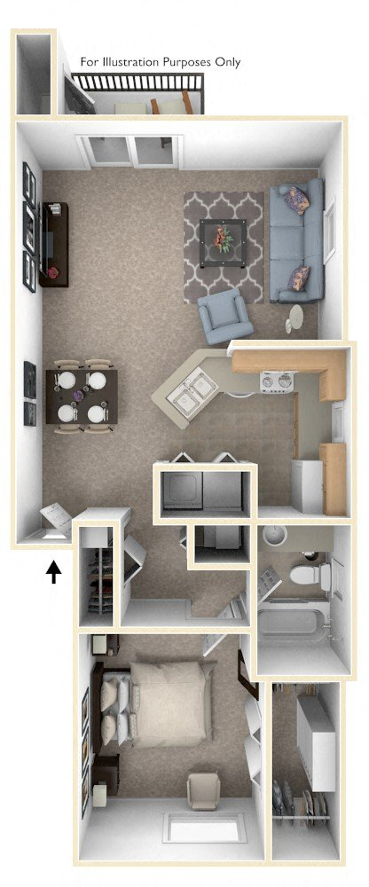1 Beds 1 Baths 440 Sq Ft Plan 924 7: Hurwich Farms Apartments In South Bend, IN