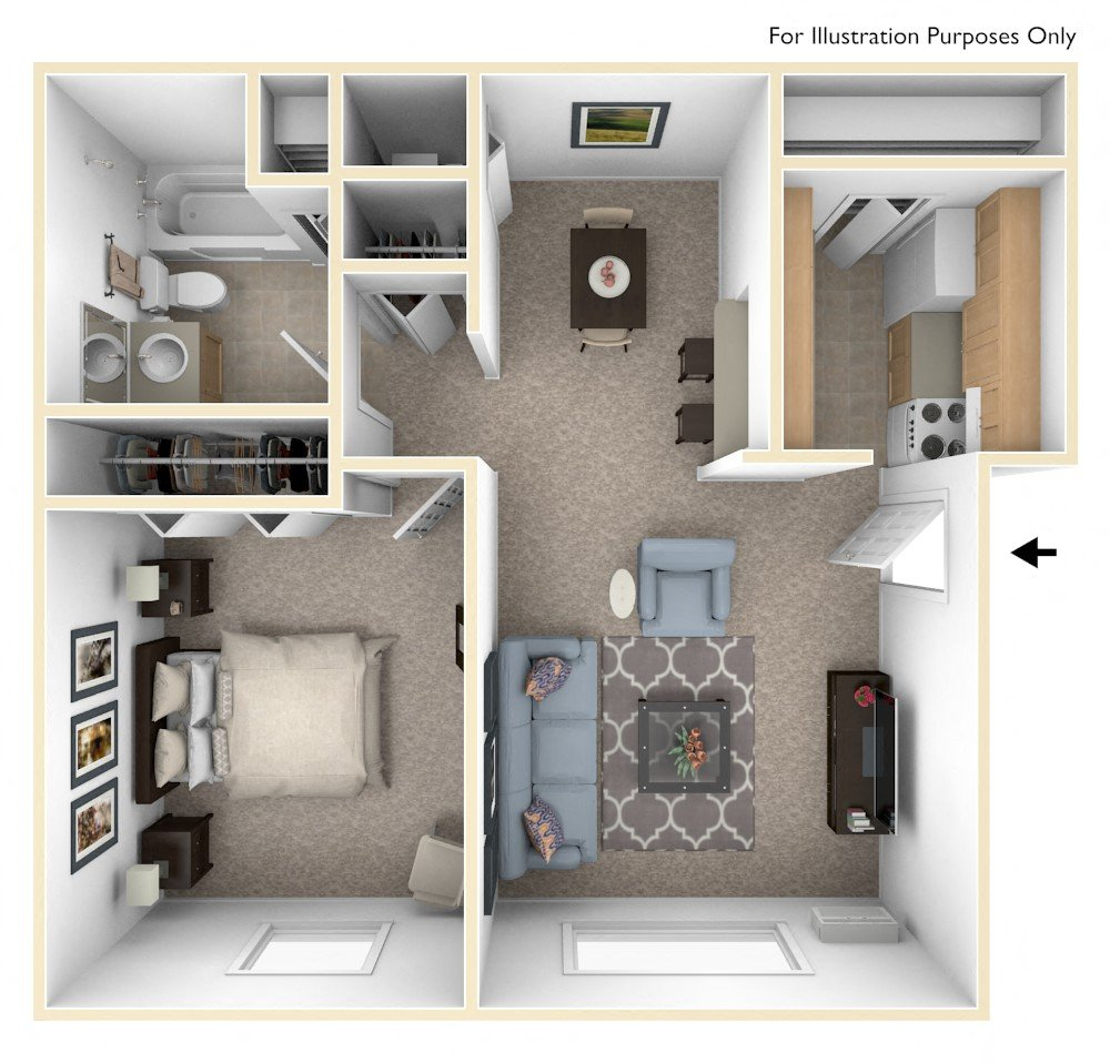 Classic One Bedroom Floor Plan Top View
