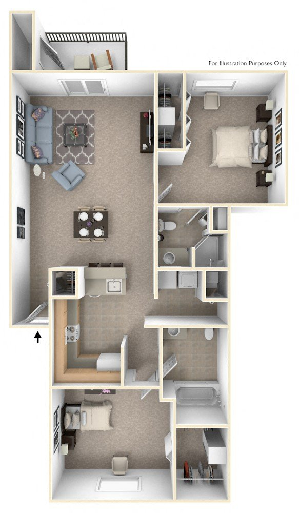 Two Bedroom floor plan, top view