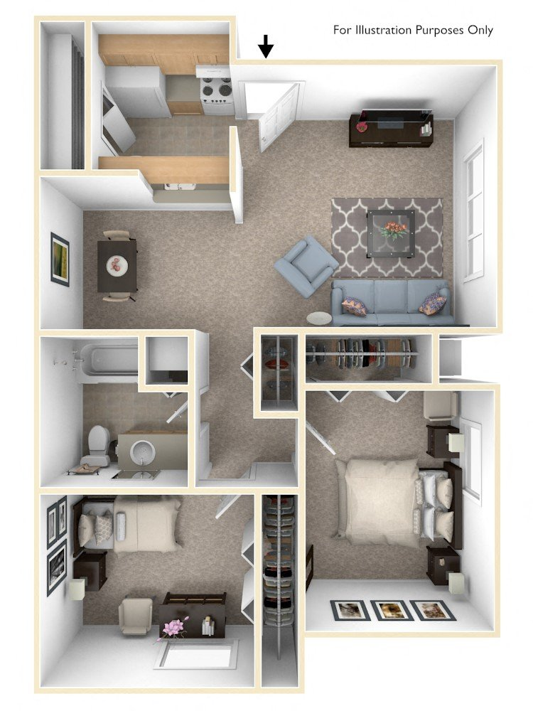 Alpine Two Bedroom floor plan, top view