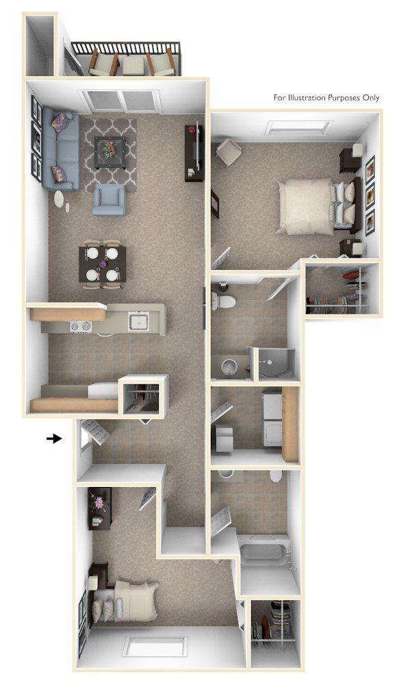 Traditional Two Bedroom floor plan, top view