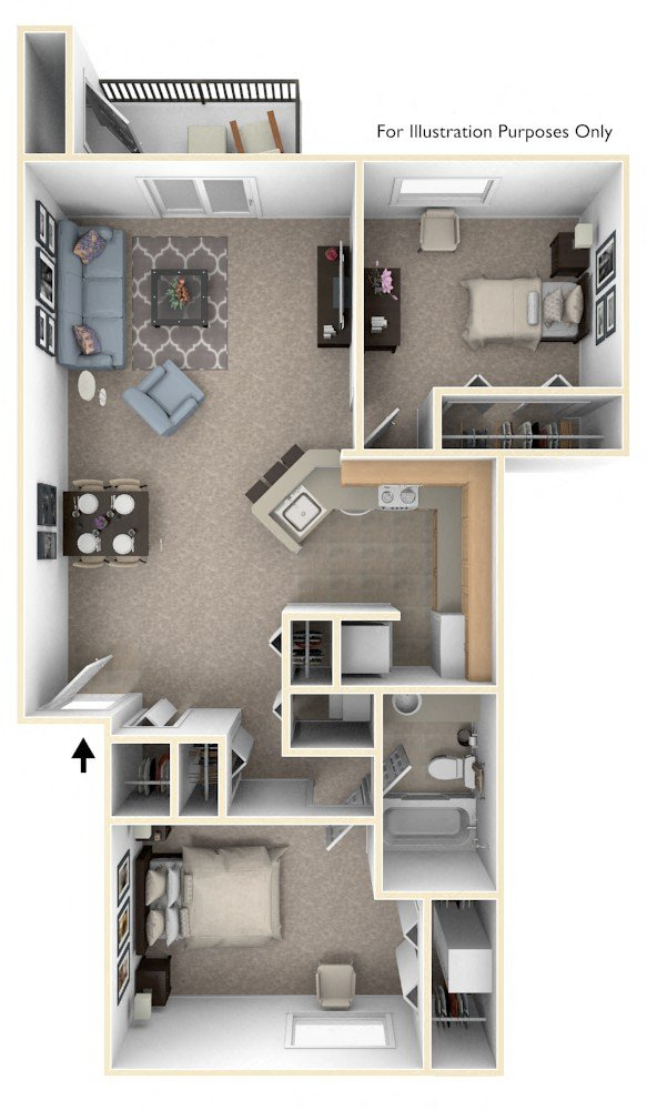 Two Bedroom, One Bath floor plan, top view