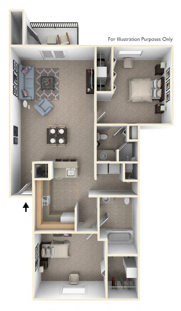 Two Bedroom, Two Bath floor plan, top view