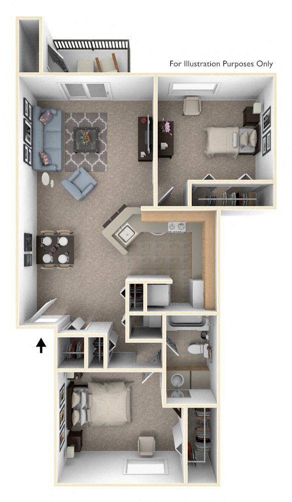 Two Bedroom, One Bath Stackable