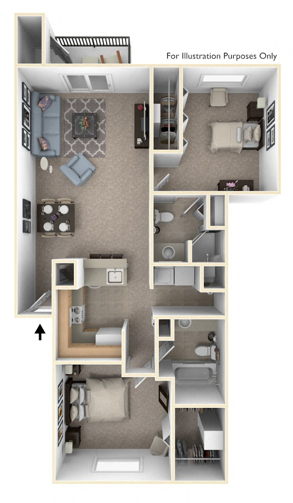 Two Bedroom, Two Bath Full-size