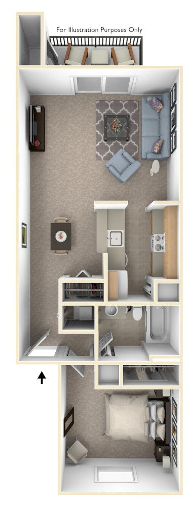 Luxury One Bedroom floor plan, top view