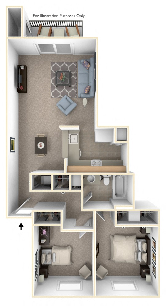 Luxury Two Bedroom floor plan, top view