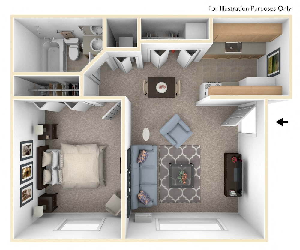 Standard One Bedroom floor plan, top view