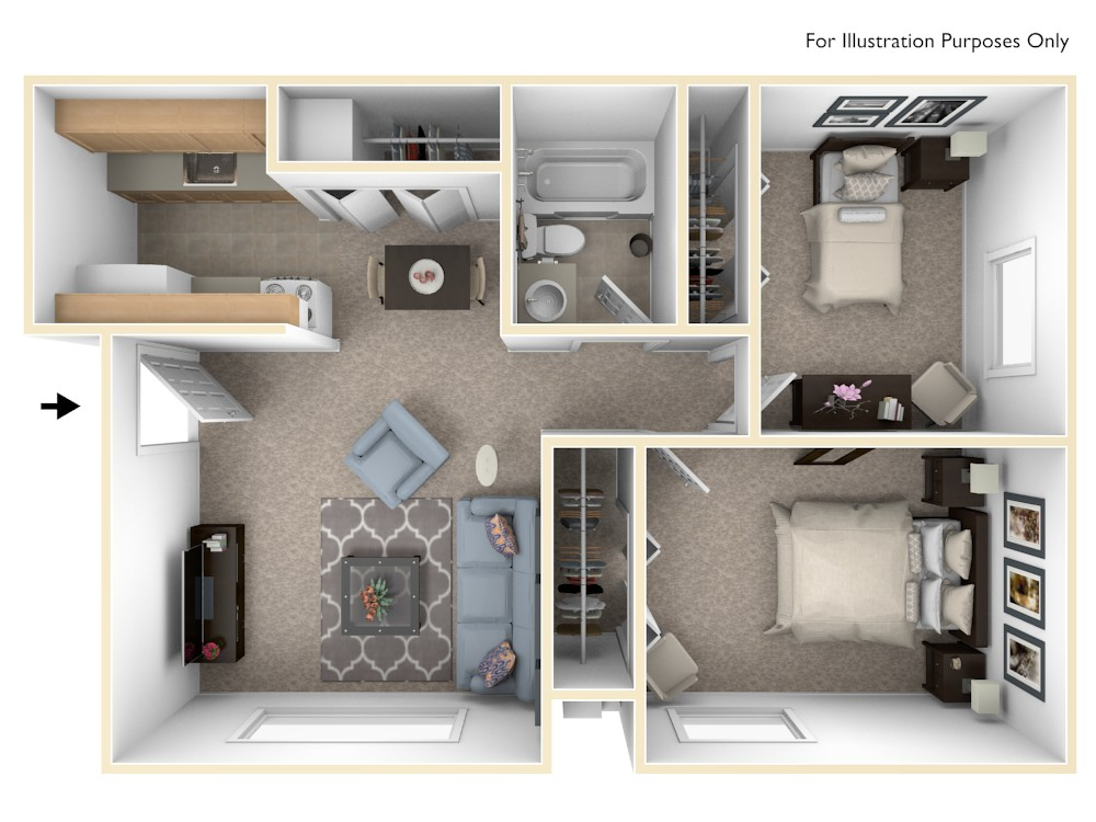 Standard Two Bedroom floor plan, top view
