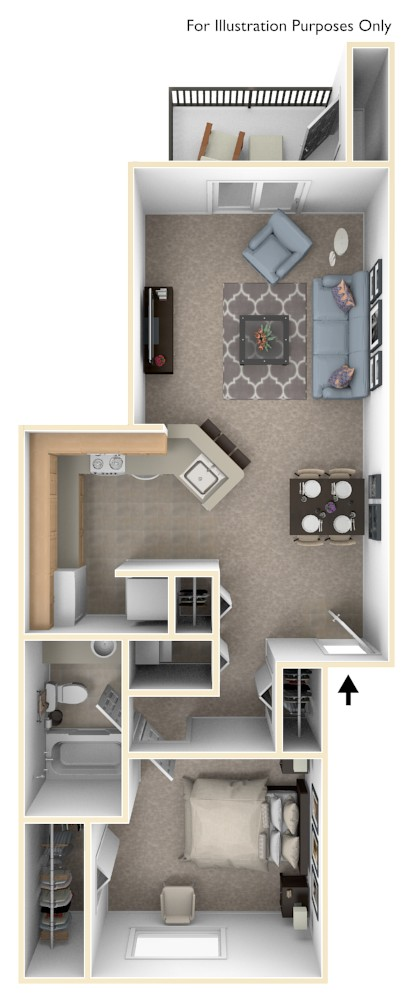 One Bedroom, One Bath floor plan, top view