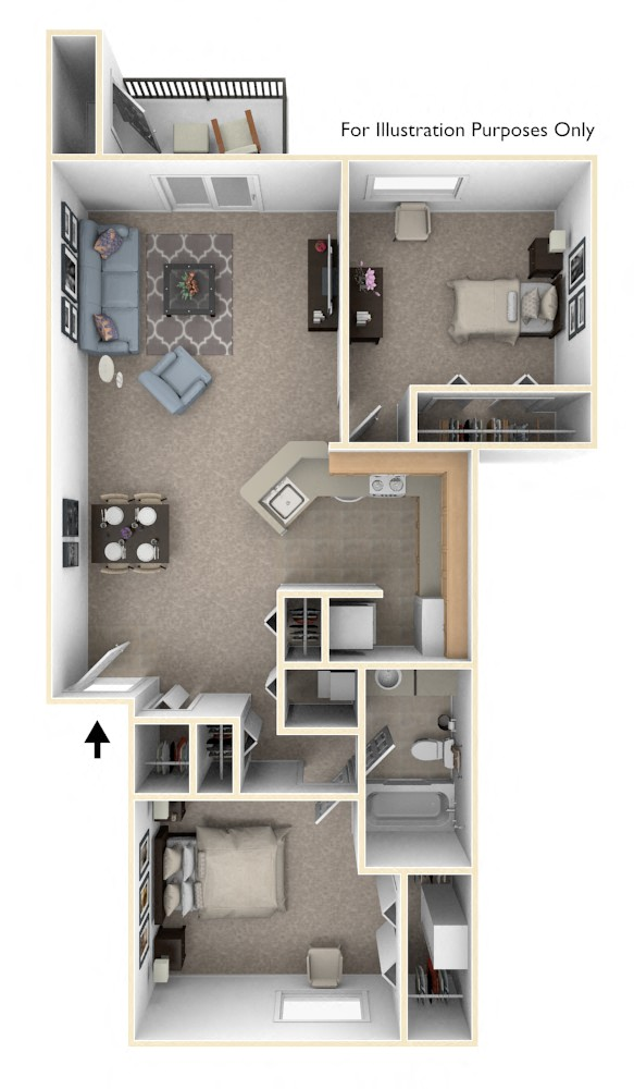 Two Bedroom - Style 1 floor plan, top view