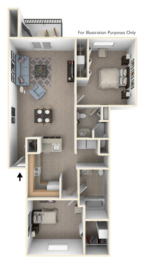 Two Bedroom Style 2 floor plan, top view
