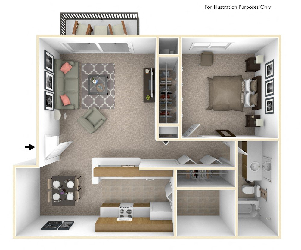 1-Bed/1-Bath, Bluebell floor plan, top view