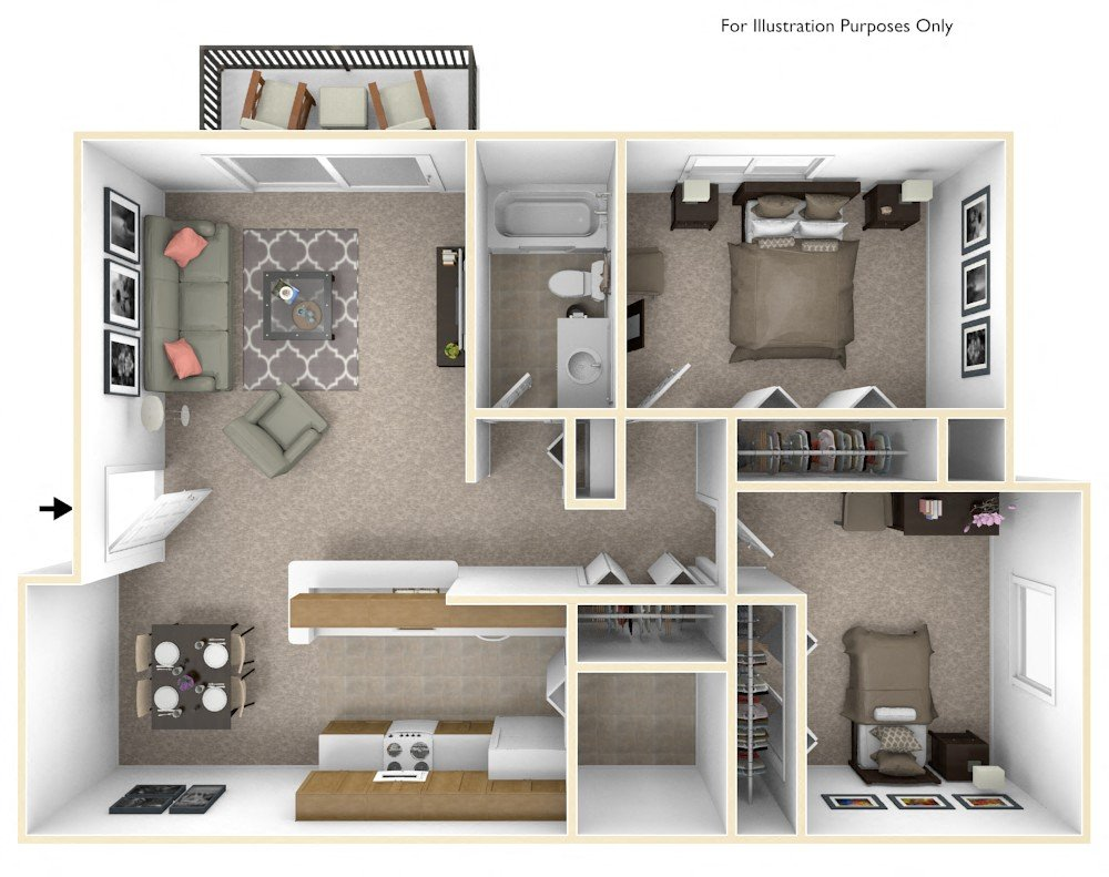 2-Bed/1-Bath, Daffodil floor plan, top view