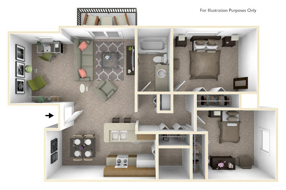 2-Bed/1-Bath, Daffodil Deluxe floor plan, top view