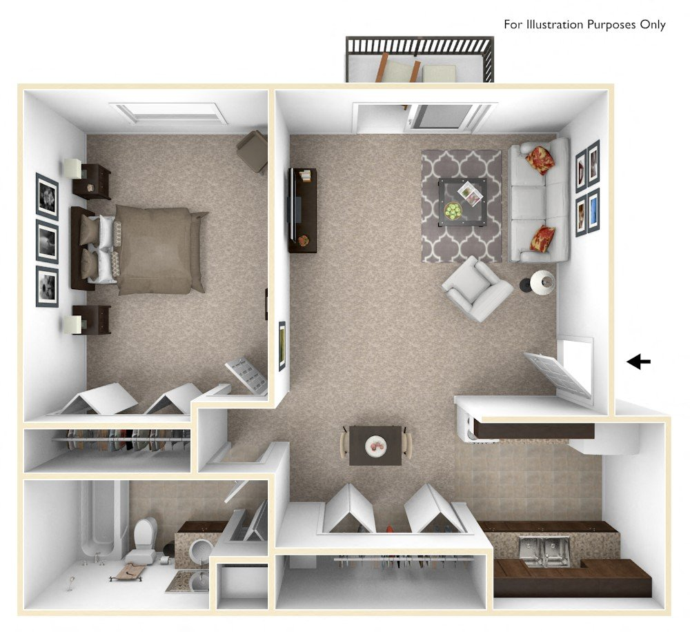 1-Bed/1-Bath, Primrose floor plan, top view