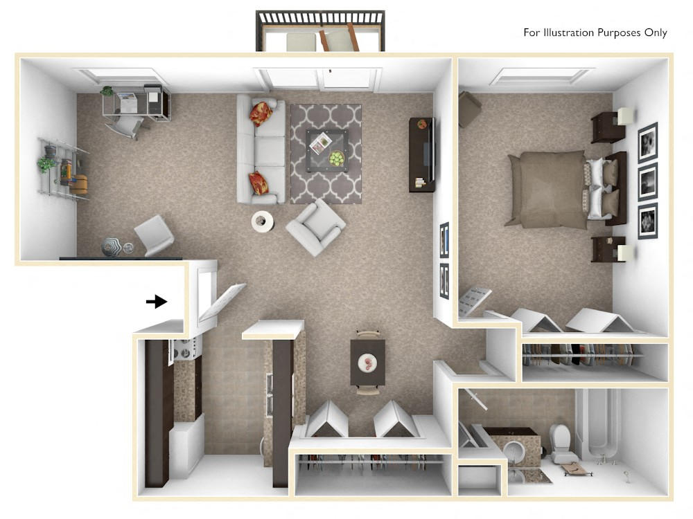 1-Bed/1-Bath, Primrose Deluxe floor plan, top view