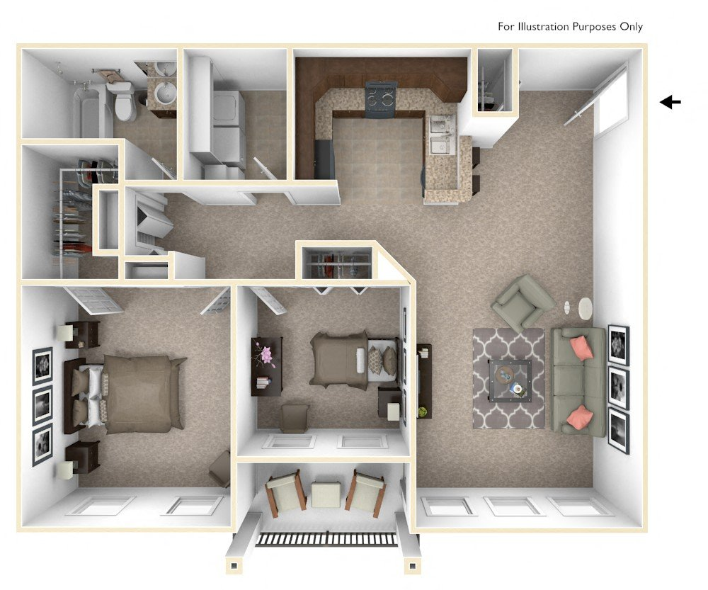 2-Bed/1-Bath, Candace floor plan, top view