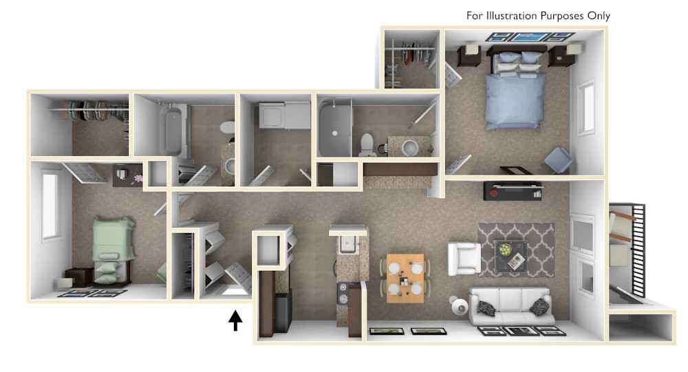 2-Bed/2-Bath, Bellflower floor plan, top view