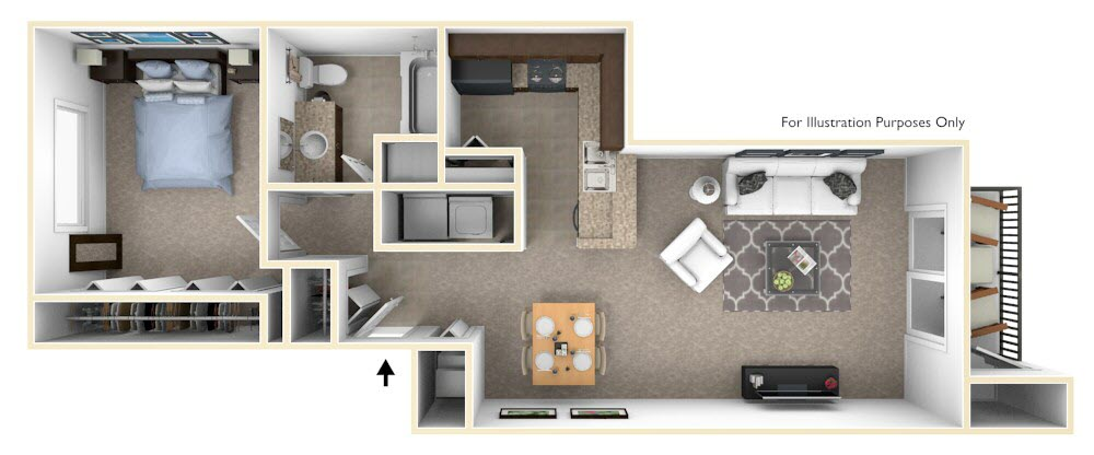 1-Bed/1-Bath, Coneflower floor plan, top view