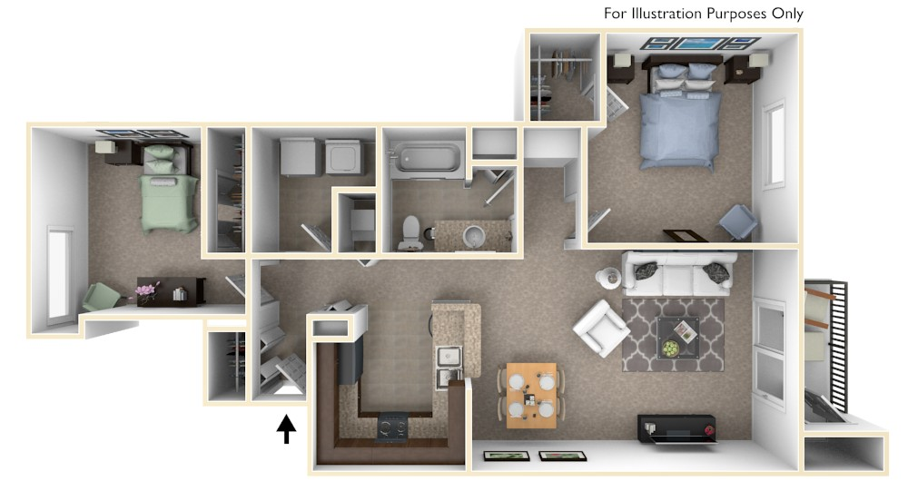 2-Bed/1-Bath, Mayflower floor plan, top view