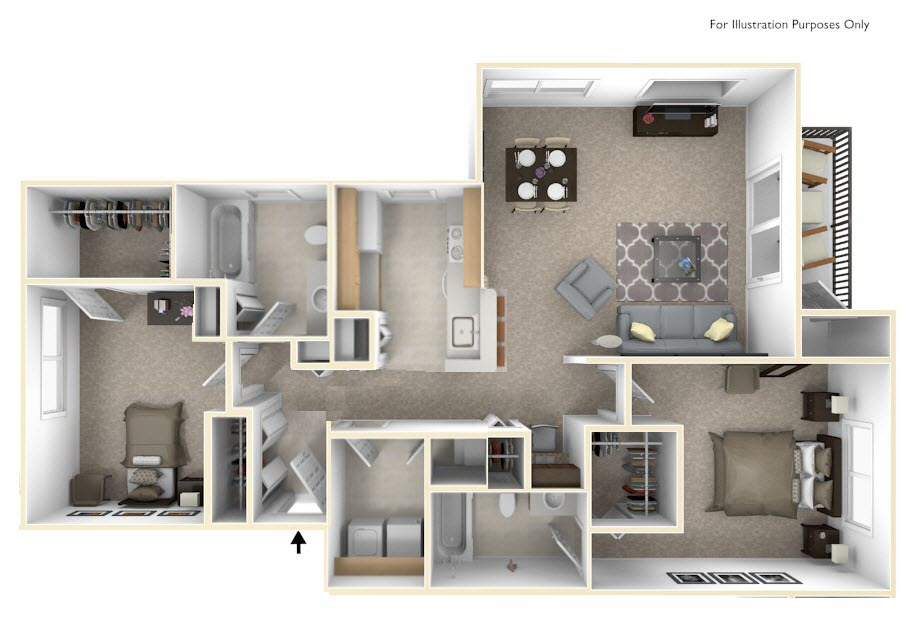 2-Bed/2-Bath, Passion Flower floor plan, top view