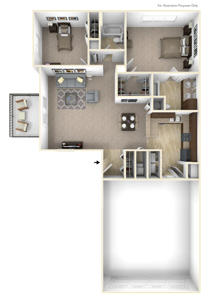 2-Bed/2-Bath, Geranium - No Basement floor plan, top view