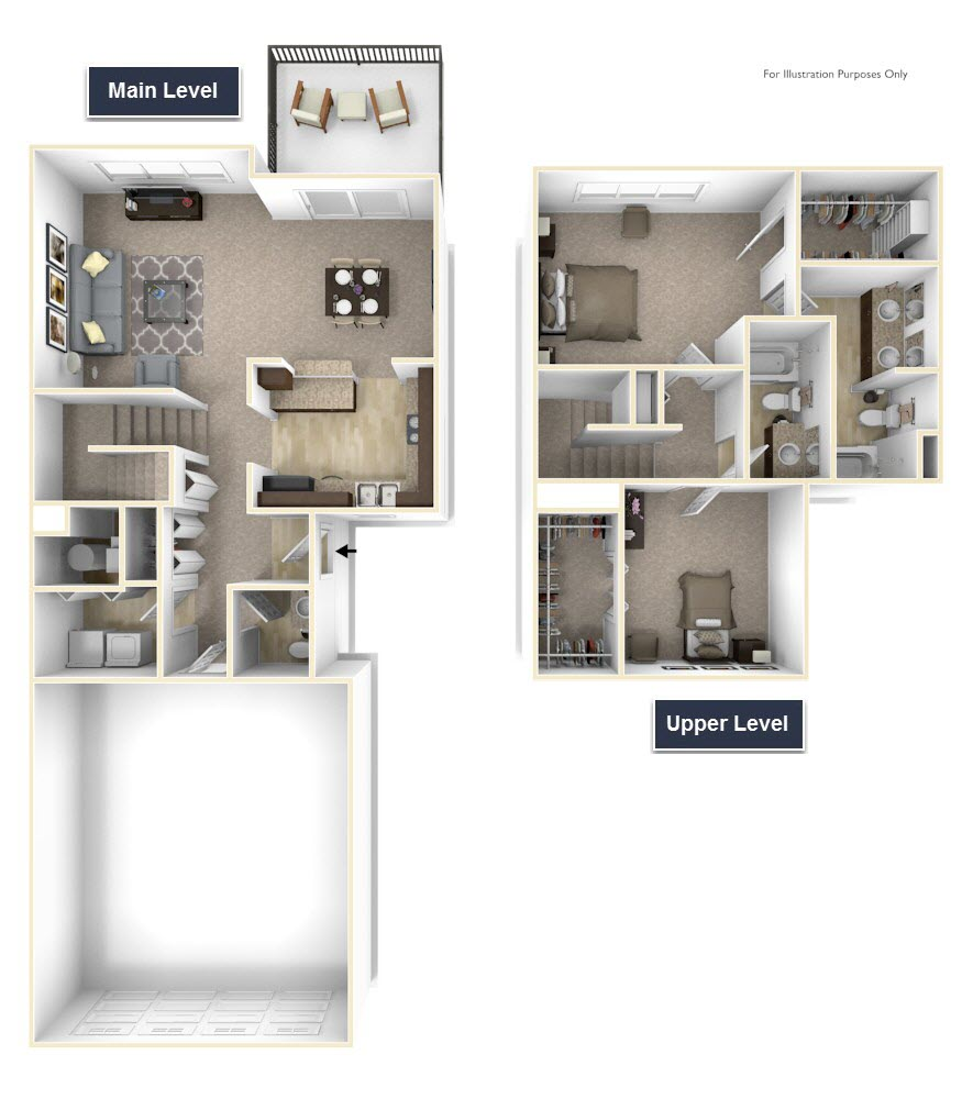 2-Bed/2.5-Bath, Trillium - No Basement floor plan, top view