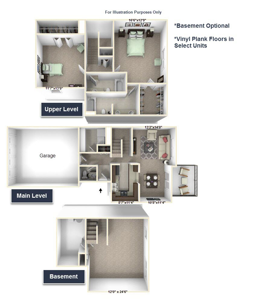 2-Bed/2-Bath, Trillium floor plan, top view