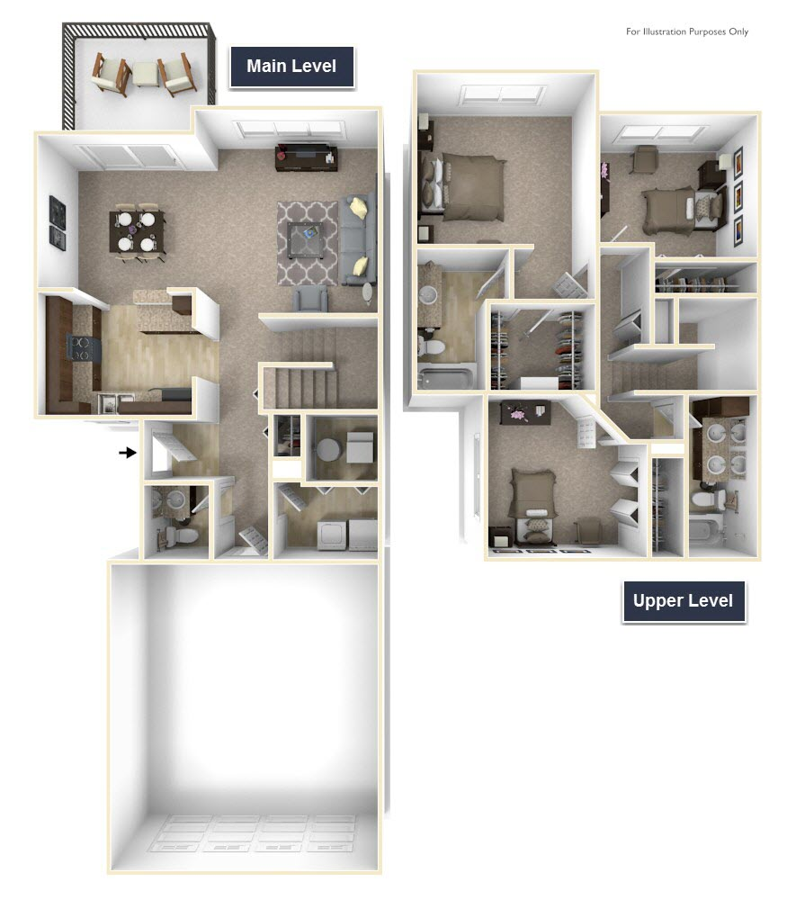 3-Bed/2.5-Bath, Yarrow - No Basement floor plan, top view
