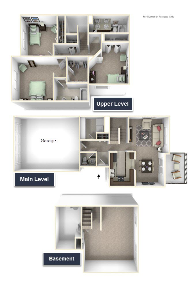 3-Bed/2-Bath, Yarrow floor plan, top view