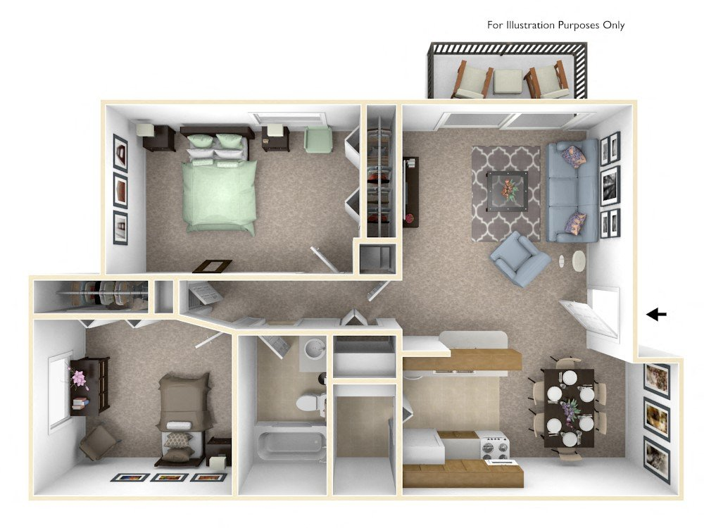 2-Bed/1-Bath, Iris floor plan, top view