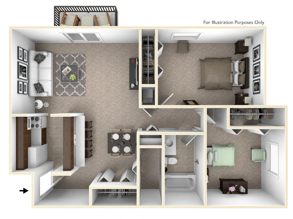 2-Bed/1-Bath, Iris View floor plan, top view