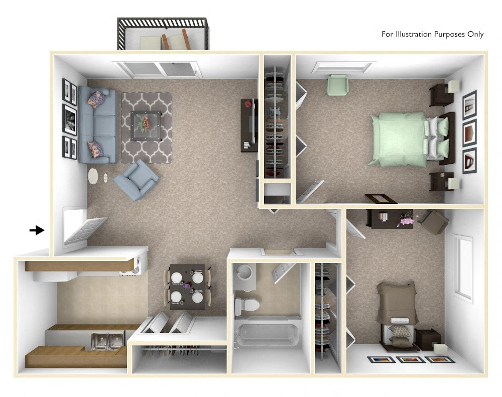 1-Bed/1-Bath, Orchid