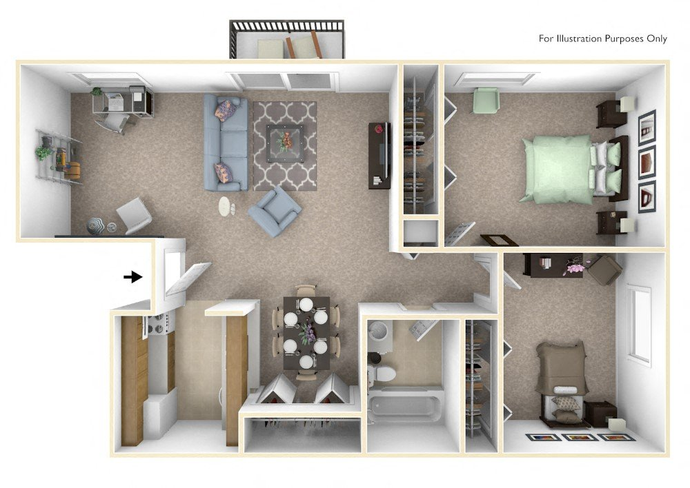 2-Bed/1-Bath, Marigold Deluxe floor plan, top view