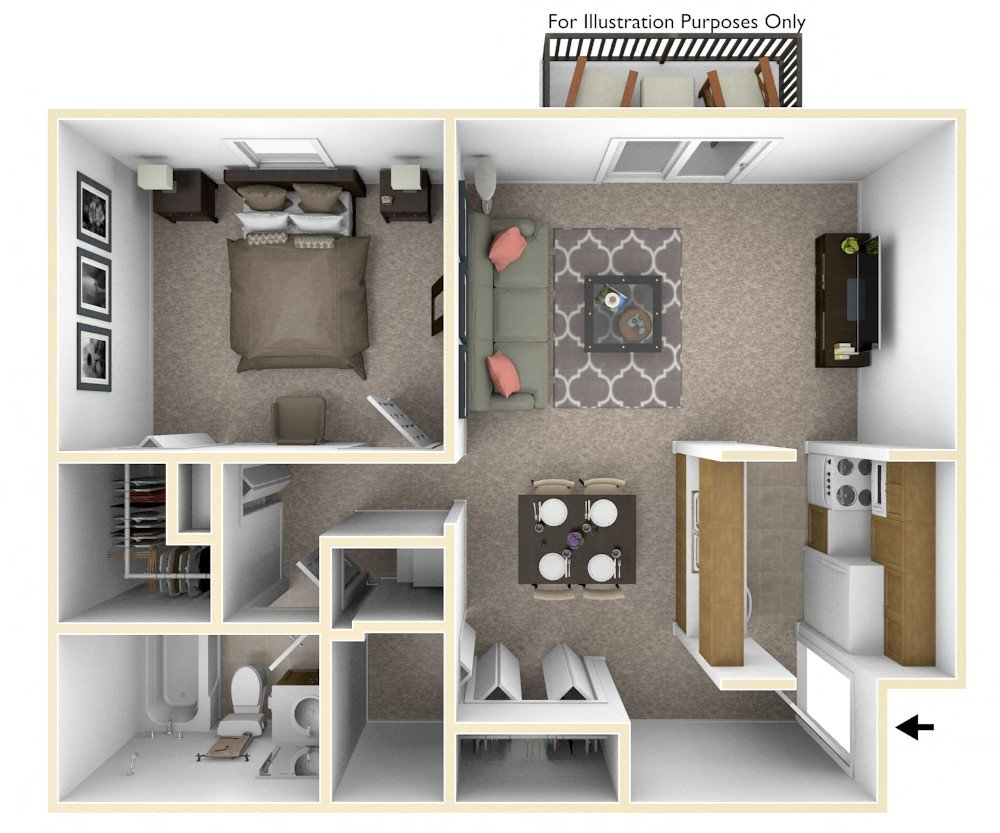 1-Bed/1-Bath, Orchid View floor plan, top view
