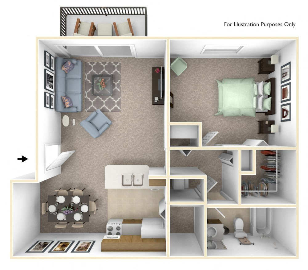 1-Bed/1-Bath, Orchid floor plan, top view