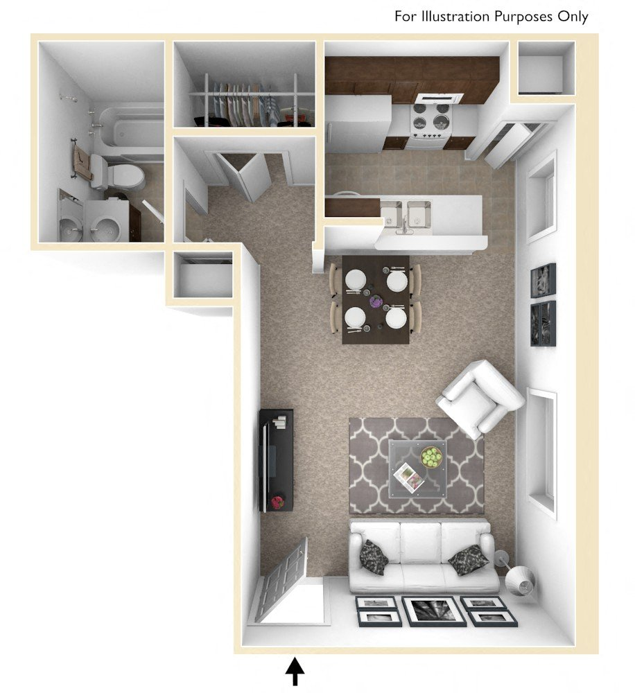 0-Bed/1-Bath, Larkspur floor plan, top view