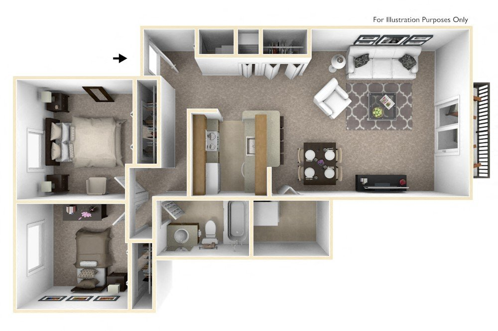 2-Bed/1-Bath, Lily floor plan, top view