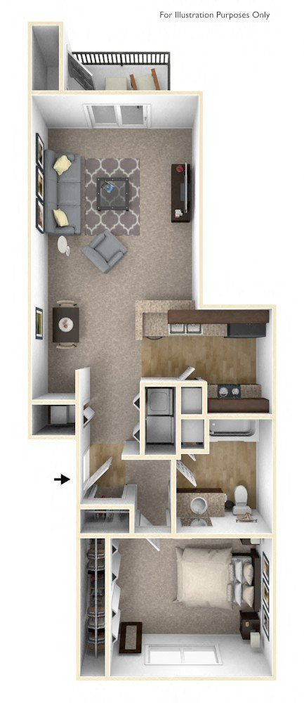1-Bed/1-Bath, Erie floor plan, top view