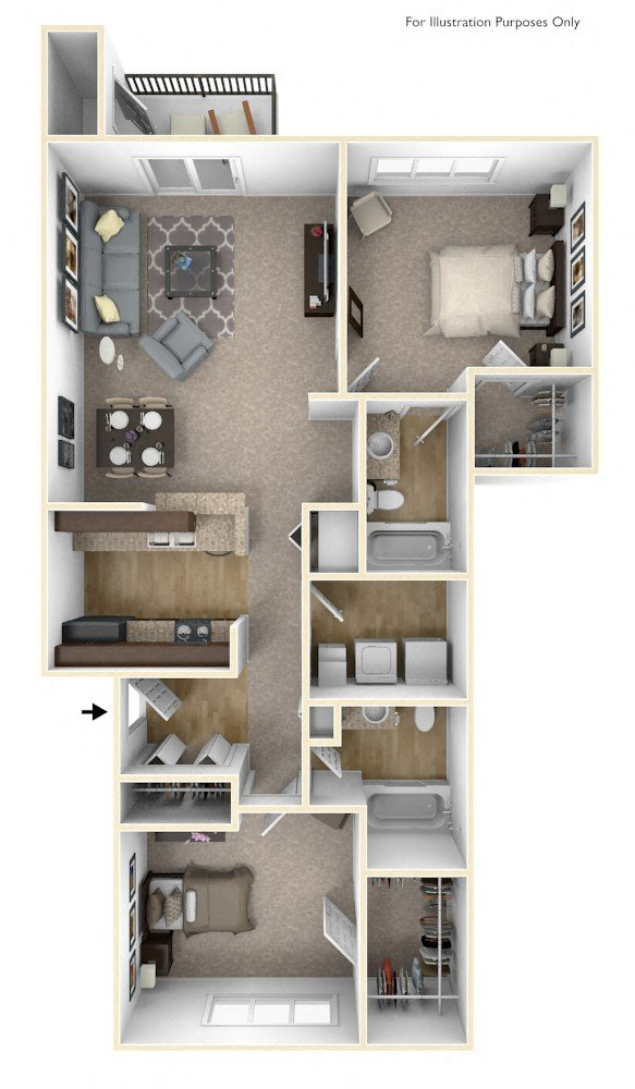 2-Bed/2-Bath, Huron floor plan, top view