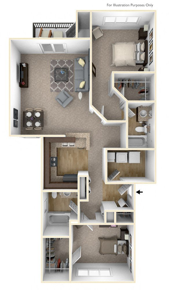 2-Bed/2-Bath, Superior floor plan, top view