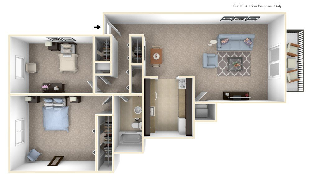2-bed/1-bath, Hydrangea floor plan, top view