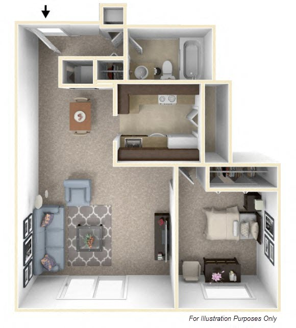 1-Bed/1-Bath, Lilac floor plan, top view