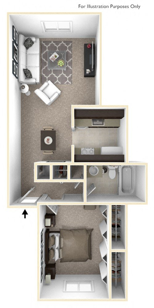 1-Bed/1-Bath, Mahonia floor plan, top view