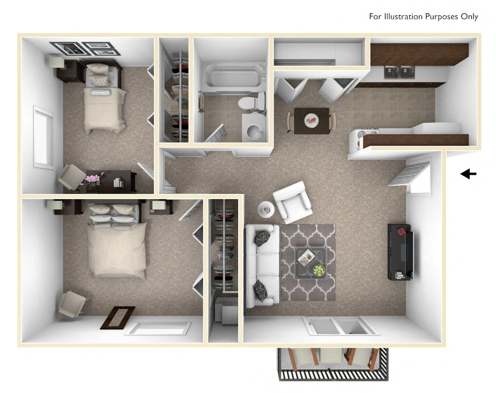 2-Bed/1-Bath, Marigold floor plan, top view