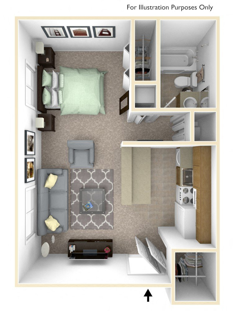0-Bed/1-Bath, Allium floor plan, top view